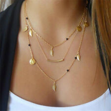 Womens MultiLayers Coin Leaf Pendant Choker Necklace Gold Plated Jewelry Crystal