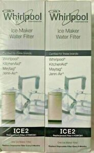 Genuine OEM Whirlpool F2WC9I1 ICE 2 Ice Maker Water Filter ICE2 Sealed Twin Pack