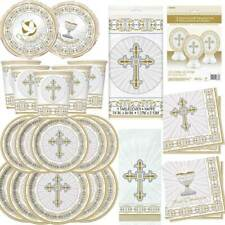 Boys Girls 1st First Holy Communion Party Tableware Decorations Royal GOLD White
