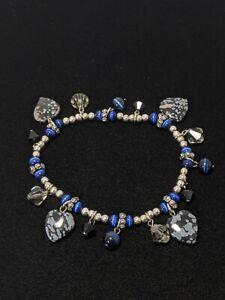 Artisan Silver Tone Black Gray Jasper Heart Stretch Bracelet Blue Cats Eye