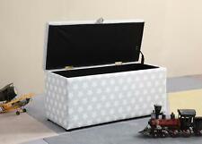 Galaxy Grey Faux Leather Stars Storage Ottoman Trunk Toy Chest Bedding Box