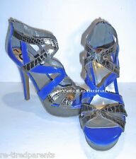 "G BY GUESS - DRESS SHOES - SANDALS – 5"" HEEL – BLUE & SILVER – SIZE 7 - NEW $125"