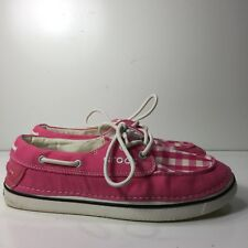 Crocs Boat Shoe Pink Checkered Lace Up Woman's Loafer Shoes Size 9