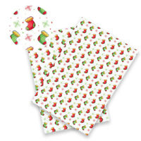 1pcs Christmas Snowman Printed Synthetic Leather Sheet Fabric For DIY Materials