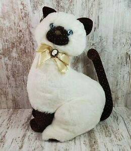"""Vintage Applause After Eight Cameo Siamese Stuffed Plush Cat Blue Eyes 1986 16"""""""