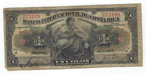 Costa Rica P-158a 1 Colon 1918 circulated