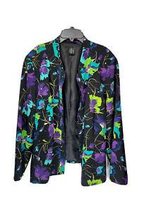 Maggie Barnes Jacket 1X Women's Floral Plus Size Blazer Long Sleeve