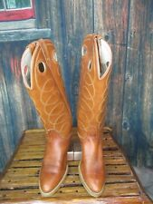 Ladies Brown Leather Acme Stacked Heel Western Cowgirl Boots Sz:6.5 C *WIDE*