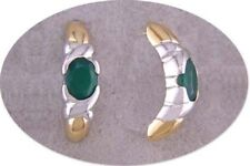 JDL GREEN AGATE GOLD POST EARRINGS