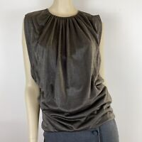 Hugo Boss Women's Gathered Lined Sleeveless Shimmer Silver Top Size S ~A15