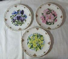 3 Bradex Royal Albert Plates - Queen Mother's Favourite Flowers