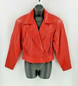 Vintage Wilsons Womens Red Leather Cropped Motorcycle Jacket Biker GLAM ROCK Med