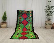 Moroccan Handmade Vintage Tribal Rug 3'x7' Berber Geometric Green Red Wool Rug