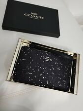 NWT Coach F38641 Boxed Small Wristlet With Star Glitter Silver/Black