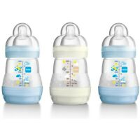 Mam Self Sterilising Anti-colic Bottle 160ml (3 Pack Blue/ White) - 3 Anti