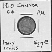 CANADA - BEAUTIFUL HISTORICAL EDWARD VII 5 CENTS, 1910 HOLLY LEAVES