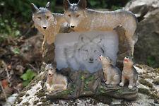 MO0234  FIGURINE STATUETTE  FAMILLE CADRE LOUP   LOUVE ANIMAL SAUVAGE