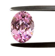 """Lab - Created Oval Checkerboard """" CZ """"  Faceted Stone 8X6mm Pink"""