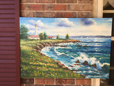 """OIL Painting on Canvas- LIGHTHOUSE/SEASCAPE/SAILBOATS 24""""x36"""""""