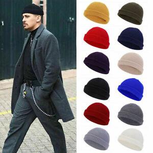US Cuff Beanie Knit Hat Cap Slouchy Skull Ski Men Women Plain Winter Warm Hats