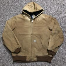 Carhartt J140 Duck Canvas Lined Hoodie Jacket Work Mens Large Tall USA Made