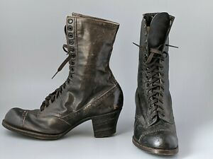 Genuine Antique 1920's Women's 14 Eyelet Ankle Boots All Leather Size UK 4