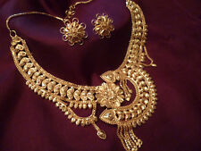 22K GOLD PLATED EARRINGS NECKLACE SET INDIAN STYLE BOLLWOOD BRIDAL WEDDING