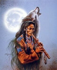 Native American Tribal with Howling Wolf Song Wall Decor Art Print Picture 8x10
