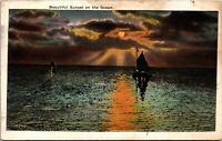 Vtg 1920's Sunset on the Ocean in Atlantic City New Jersey NJ Postcard