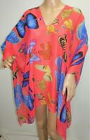 Khaki Pink White Navy Chiffon Poncho Cover Up Batwing Tunic Top Blouse