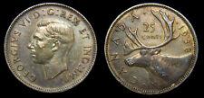 1938 Canada 25 Cents Silver Quarter King George VI Toned Graffiti VF-30