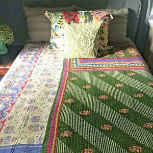 Vintage Bohemian Reversible Kantha Quilt. Anthropologie Bedroom Decor.