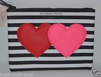 NEW VICTORIA'S SECRET HEARTS BLACK STRIPED MAKEUP COSMETIC CASE BAG CLUTCH POUCH