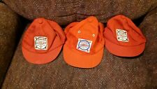 3 Vintage Kids Red Baseball Caps Junior Leaguer Hats
