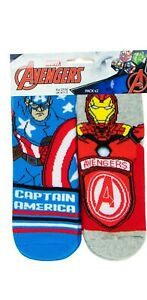 MARVEL AVENGERS 2 PACK SLIPPER GRIPPER SOCKS 2 DEGINS 3 SIZES 2 PAIRS NEW