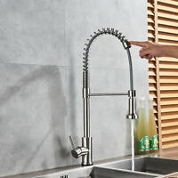Touch Induction Brushed Nickel Kitchen Faucet Swivel Spout Pull Down Sprayer Tap