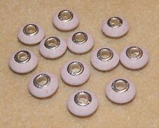 12 Pink Carved Pattern Acrylic Beads To Fit European Charm Bracelet - Metal Core