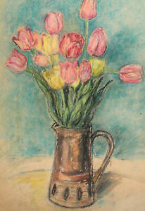 Antique impressionist pastel painting still life with tulips