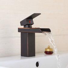 Black Waterfall Spout Single Handle Bathroom Sink Vessel Faucet Basin Mixer Taps
