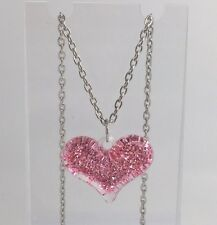 Pink Large Bubble Heart Glitter Charms Acrylic Pendant F110 16 Inches Long Chain