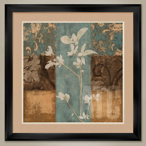 """35W""""x35H"""": HERITAGE I by CHRIS DONOVAN - FLORAL DOUBLE MATTE, GLASS and FRAME"""