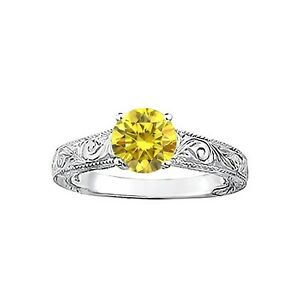 Fancy Yellow Diamond 1 Carat SI3 Clarity Sparkling Solitaire Engagemeng Ring