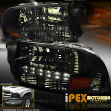[ SHINY SMOKE ] 1997-2004 Dodge Dakota Durango LED Headlights W/ Signal Lights