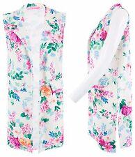 Women Ladies Open Floral Print Sleeveles Blazer Long Coat Duster Jacket Side Cut