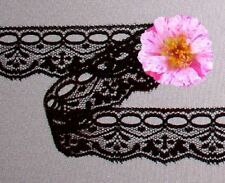 "Black Lace Trim 12 Yards x 1-1/4"" Beading CLOSEOUT O63JV Added Trims ShipFree"