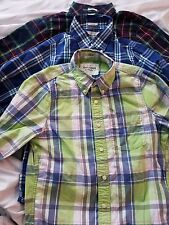 Lot of 3 Men's Abercrombie & Fitch CHECKS Long Sleeve MUSCLE Button Shirt SMALL