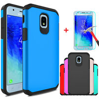 For Samsung Galaxy J3 Orbit/Star/Achieve Case Cover With Glass Screen Protector