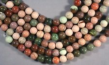 "LOVELY IMPERIAL JASPER 10MM ROUND BEADS 8"" STR  PINK GREEN BROWN"