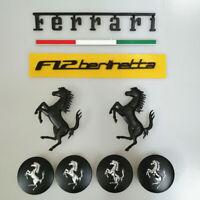 Ferrari F12 Italy badge & Horse Emblem Script & Wheel Caps Kit Matte Black