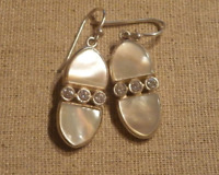 Silpada Palindrome Stering Silver, Mother of Pearl and CZ Earrings w3066